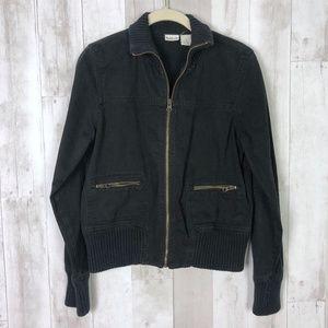 Rubbish Black Bomber Moto Ribbed Zip Up Jacket